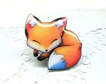 Fox brooch FREE SHIPPING fox sleeping pin Animal brooch animal jewelry, fox pup, fox jewelry, clay fox,  clay pin.