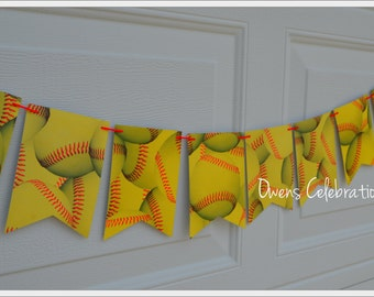 Softball Flags Banner, Softball Birthday Decorations, Softball Party Supplies by Owens Celebrations