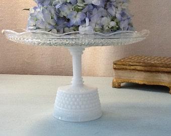 Vintage Glass & Milk Glass Cake Stand/ Dessert Pedestal/ Cupcake Stand/
