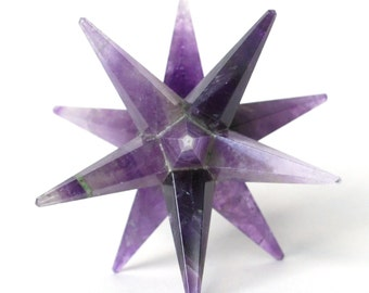 Amethyst Hand Cut Crystal Large 12 Point Merkaba Star Stunning Natural Stone