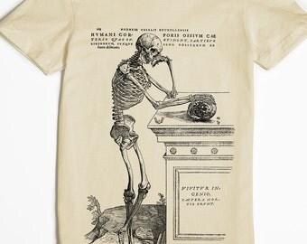 Skeleton Shirt - Women's T-shirt - Skull Tshirt - graphic tee - vintage art - weird tee