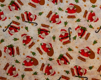 "Vintage Fabric ~ Santa Fabric ~ 1 1/2"" Chubby Santa's With Canes and Toy Bags ~ Red, Green and White"