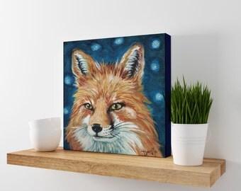 Fox Art - Woodland Animal Art - Fox Wall Art - Red Fox Art - Fox Canvas - Wildlife Art - Animal Wall Decor - Office Art - Fox Print
