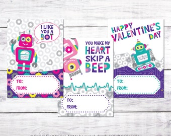 Robot Girl Valentine's Day Cards for Kids - Printable Class Valentine's Cards for Girls