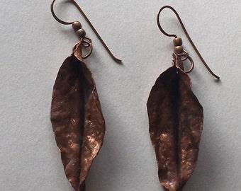 Copper Folded Leaf Earrings