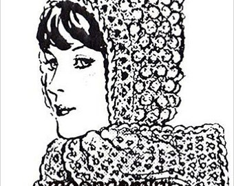 PDF Crocheted Hoods with Attached Scarf or Tie Instant Download Crochet Scoodie Pattern