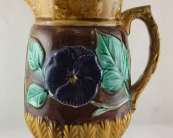 Antique Majolica Water Pitcher Jug with Pansy Motif