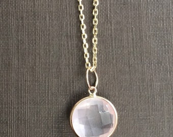 14k solid rose gold and rose quartz charm