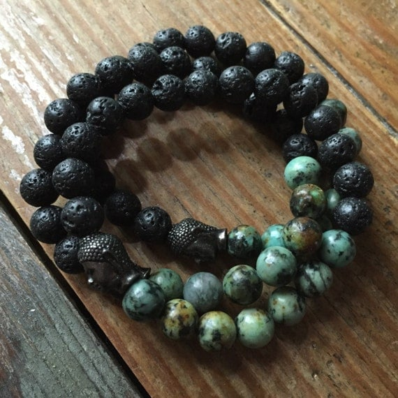 Stackable Essential Oils Diffuser Lava Bead, African Turquoise + Buddha Yoga and Meditation Bracelet