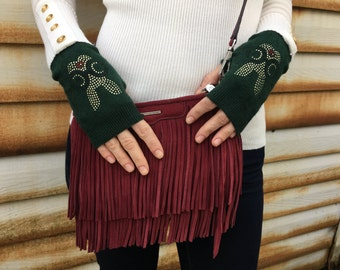 Fingerless Gloves Arm Warmers Hand Warmers Knit Mittens Women Gloves Dark Green Gloves Rabbit Bunny Gold FREE US SHIPPING!