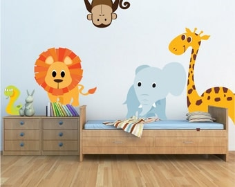 nursery zoo animal wall decal mural kids room decals girls room wall animals animals wall designs animals decor animal murals n06