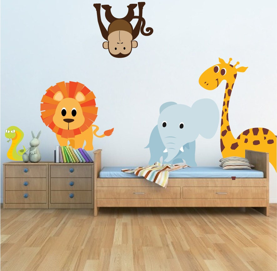 Nursery Zoo Animal Wall Decal Mural Kids Room Decals By