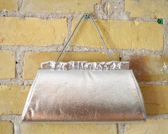 VINTAGE metallic evening bag with short strap and ruffle detail