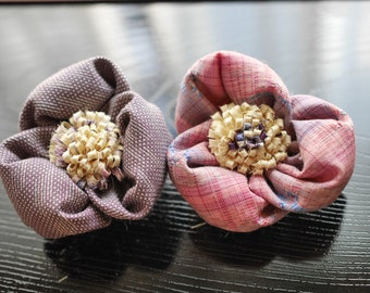 Kimono Fabric, hair accessory or brooch,