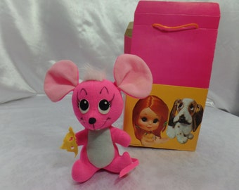 Vintage 1960's Dakin Dream Pets Stuffed Animal Made in Japan for R. Dakin & Company-Pink Mouse Tid Bit-Includes Vintage Kamar gift Box!