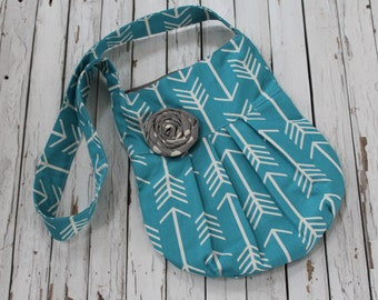 Turquoise Crossbody Pleated Bag,Pleated Crossbody Tote, Pleated Crossbody Purse, Turpuoise Arrow Bag, Ready to Ship