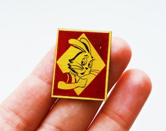 Vintage (2 cm x 2.5 cm) 0.78'' x 0.98'' nu pagadi pogodi wolf animal brooch badge token clasp pinion pin button co
