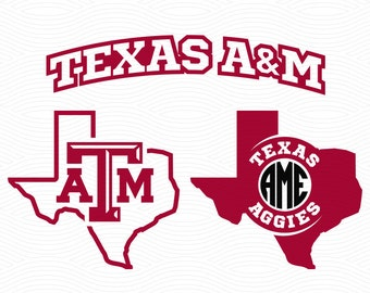 Texas A&M Monogram Frames - SVG, EPS, DXF, Studio3 - Texas Aggies A and M Cutting Files for Silhouette Studio, Cricut Design Space