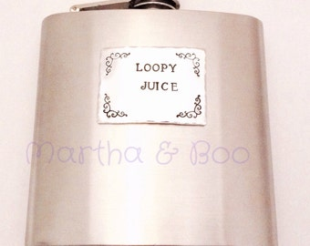 Hand stamped hip flask, personalised whiskey bottle, customised, wedding, best man, liquor flask, alcohol, dad gift, teacher gift, for him