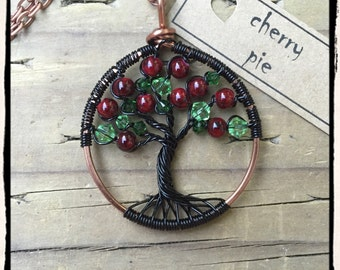 Cherry Pie, Twisted Tree of Life pendant (adjustable length)