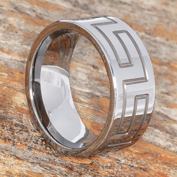 Forevermetals Greek Key Wedding Band 10mm Width Comfort Fit