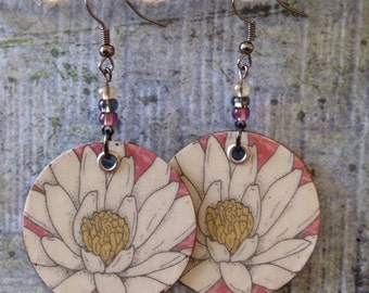 Up-Cycled Lotus Flower Earrings, decoupage cereal box, cardboard earrings