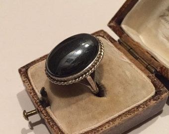 Vintage silver Hematite beautiful ring with classic design
