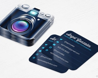 Camera business card etsy mini camera business cards photographer rounded corners design and printing 250 reheart Image collections