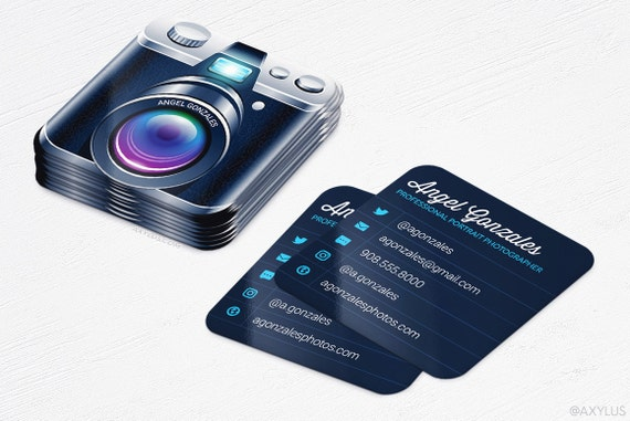 Mini Camera Business Cards grapher Rounded Corners