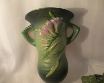 Roseville Art Pottery Vintage Wall Pocket Vase Roseville Freesia Green 1296-8