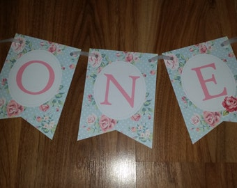 1st Birthday Vintage Rose 'ONE' High Chair Bunting Banner