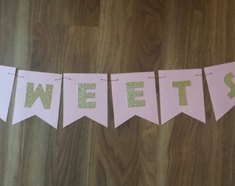 "Lolly Bar ""SWEETS"" sign Pink and Glitter Gold"