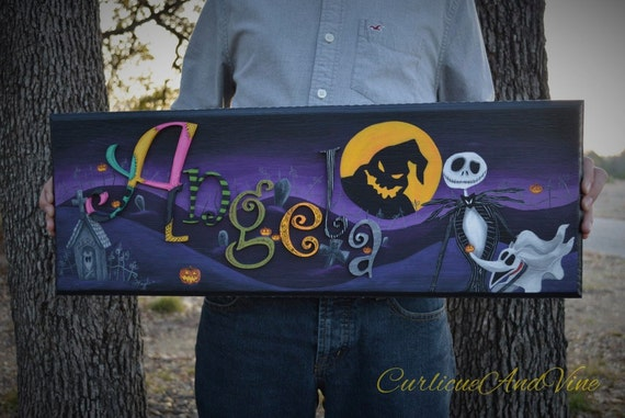 The Nightmare Before Christmas Inspired -Nursery- Personalized- Name- Wall Art -Jack Skellington -Zero- Sally-Boy-Girl-Halloween