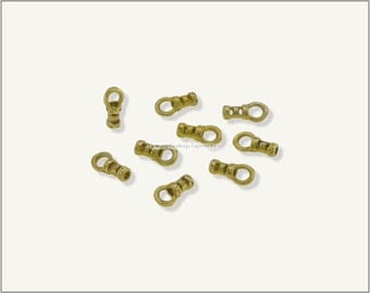 10 pcs.+  1mm Crimp End Cap, Crimp Ends, Cord Ends for Leather Cords & Chains - Raw Brass