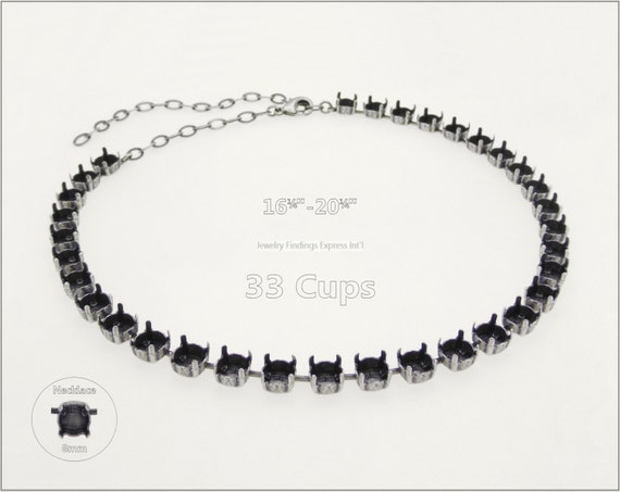 1 pc.+ 33 Cups, SS39 (8mm) Empty Cup Chain for Necklace - Antique Silver