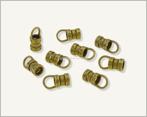10 pc.+  4mm Crimp End Cap, Crimp Ends, Cord Ends for Leather Cords & Chains - Raw Brass
