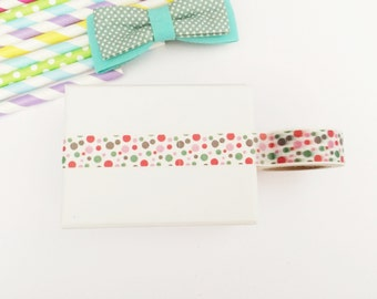 Colorful dots washi tape, cute deco tape, paper tape, cute tape, packaging, wrap tape,pink, red, green,brown circles
