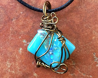 Mermaid Inspired Teal Fused Glass Pendant, Wire Wrapped, Dichroic Jewelry, Swirls, Antiqued Brass Wire, Art Glass, Wearable Art, Ocean Lover