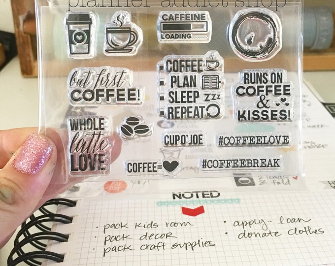 COFFEE LOVER 3X4 Photopolymer stamp set/Planner Accessories: Erin Condren, Filofax, planners
