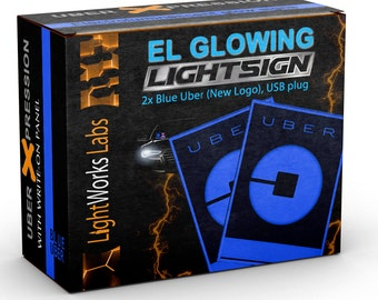 Duo Package: 2 Illuminated Glowing Blue New UBER Light Signs (Electroluminescent, better than LEDs) - USB