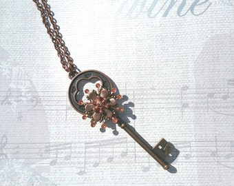 Copper key and flower necklace, steampunk, long, for her, gifts