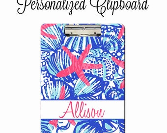 Personalized Clipboard, Monogram 2 Sided Clipboard, Teacher Gift, Coach Clipboard , Lilly Pulitzer Inspired