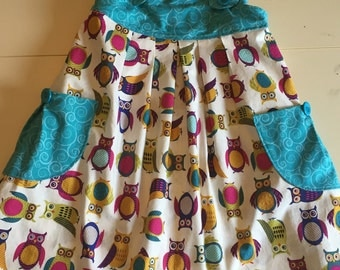 Girl's Teal and Owl Print Summer Jumper