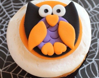 12 fondant halloween owls cupcake toppers-halloween owls, fondant owls,halloween decorations, halloween party supplies, edible fondant owls