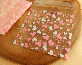 Heart Sweets Bags, Wedding Favour Bags, Pink Hearts, Wedding Cellophane Bags, White Hearts, Clear Sweet Bags