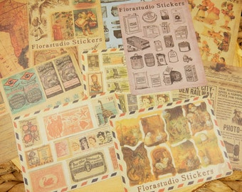 Paper Ephemera, Vintage Style Stickers, Large Stickers, Alice in Wonderland, Map of South America, Scrapbooking Decal