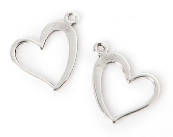 55 Hearts Charm Antique Silver Plated Charm 13*13mm [XL-22390]