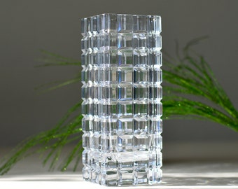 Vintage Mikasa Slovenia Crystal Clear Glass Vase Square