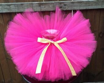 hot pink and gold tutu, birthday tutu, newborn, baby, toddler, girl, tutu, hot pink gold birthday outfit, hot pink and gold first birthday
