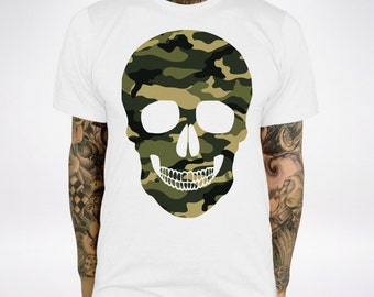 Camo Skull T Shirt Fashion Style Camouflage Top Summer